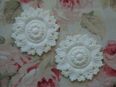 NEW! Shabby & Chic 2 Large Acanthus Leaf Medallions Applique Architectural