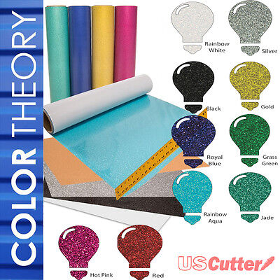 "10-Color BUNDLE Color Theory GLITTER Heat Transfer Vinyl (HTV), 20"" x 12"" Sheets"