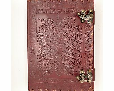 Green Man Handmade Large Book Of Shadows Leather Journal Wicca Wisdom Diary