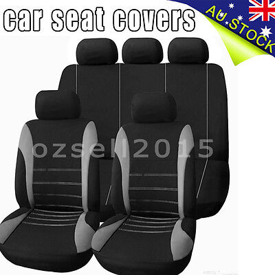 Universal 1 Set Car Seat Cover For Front/Rear Seat Headrest Black gray
