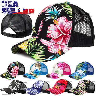 Hawaiian Baseball Cap Snapback Trucker Hat Hawaii Tropical Floral Visor Mesh New