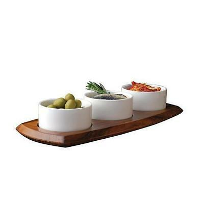 Dip / Relish Set, 3 Porcelain Bowls on Acacia Wood Board, Athena 144 x 338mm