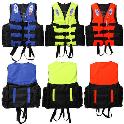 Adult Kid Polyester Life Jacket Swimming Boating Ski Foam Surfing Vest+Whistle