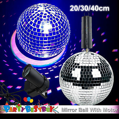 20 30 40cm Disco Mirror Ball Light Spin Motor Set 3 Colour Spot Stage Lights Par