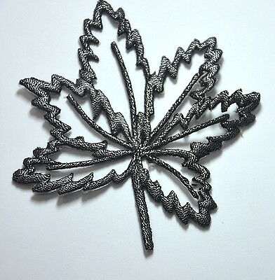 SILVER LEAF SKELETON TRIMMING Embroidered Sew Iron On Cloth Patch Badge APPLIQUE