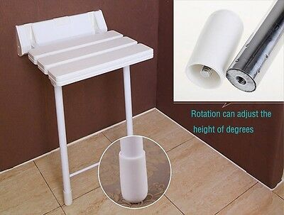 Wall Mounted Folding Adjustable Shower Seat Bathroom Stool with Drop Down Legs