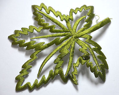 GREEN LEAF SKELETON TRIMMING Embroidered Sew Iron On Cloth Patch Badge APPLIQUE