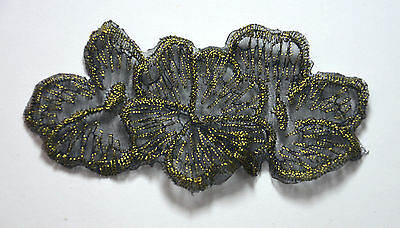 FLOWER BLACK GOLD TRANSLUCENT Embroidered Sew Iron On Cloth Patch Badge APPLIQUE