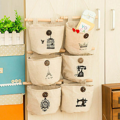 Linen Wall Back Door Bedside Closet Hanging Bag Storage Holder Organizer Handbag