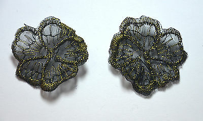 2x FLOWER BLACK GOLDEN GHOST VEIL Embroidered Sew On Cloth Patch Badge APPLIQUE