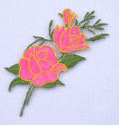 PINK ROSE FLOWER Embroidered Sew Iron On Cloth Patch Badge APPLIQUE REF AA3