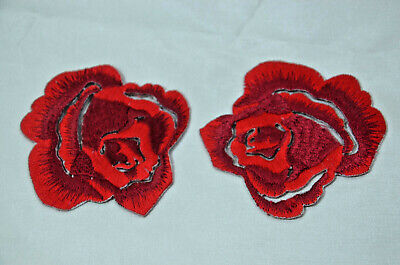 """LARGE 12cm 5"""" RED ROSE FLOWER Embroidered Sew Iron On Cloth Patch Badge APPLIQUE"""