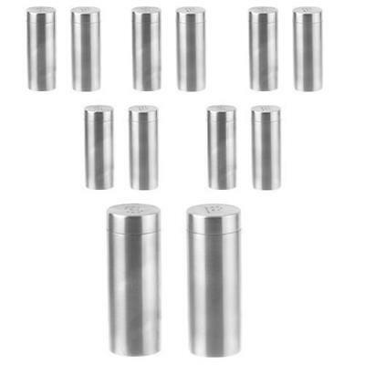12x Salt & Pepper Shakers, Stainless Steel, Cylindrical, 100m, Cafe / Restaurant