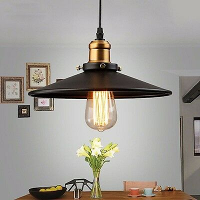 r tro vintage suspension m tal lustre industriel plafonnier lampe luminaire eur 36 85. Black Bedroom Furniture Sets. Home Design Ideas
