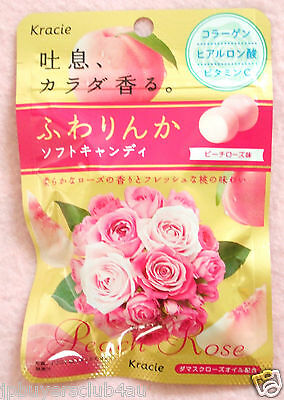 Kracie Fuwarinka Peach Rose Flavor Soft Chewy Candy Collagen Japanese Candy New