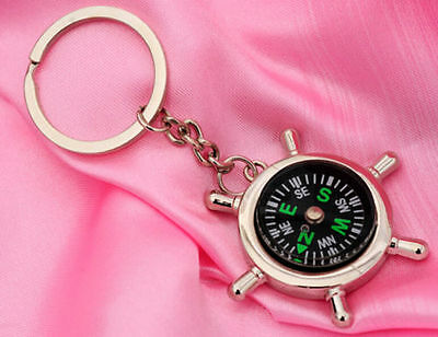 Portable Rudder Keychain Ring Precise Compass Camping Hiking Hunting Black New*