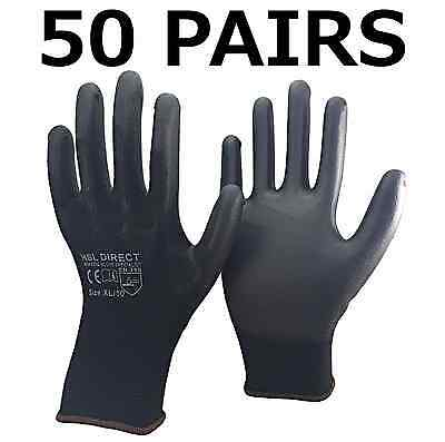 50 PAIRS HSL DIRECT Black Nylon PU Safety Work Gloves Builders Grip Gardening