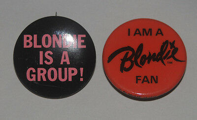 Blondie Black + red original Buttons Fan Club Debbie Harry pinbacks badges pins