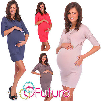 Ladies Maternity Mini Dress 3/4 Sleeve Asymmetric Neckline Tunic Sizes 8-18 6407