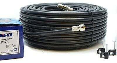 50M Meter Black RG6 Satellite Freesat Coax Cable Lead 4 Sky Plus HD TV Coaxial