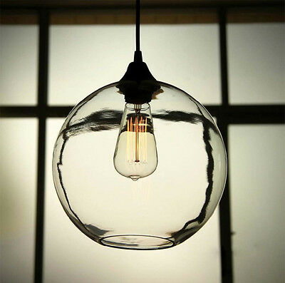 Retro Industrial Globe Loft Cafe Dining Glass Ceiling Pendant Hanging Light Lamp
