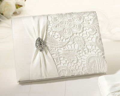 Beautiful Wedding Guest Book Vintage Lace Guest Book - Cream - 55 Pages