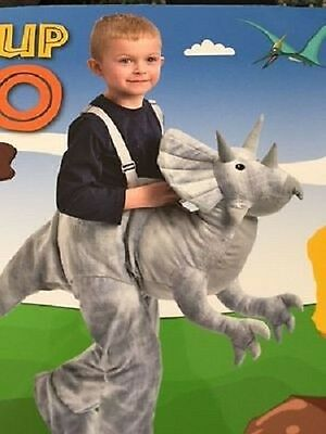New Grey Dinosaur Triceratops Ride On  Fancy Dress Outfit Dress Costume 3-7Years