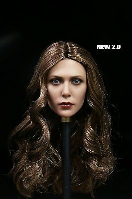 """1:6 Scarlet Witch Female Head Sculpt 2.0 Brown Hair For 12"""" doll Body In Stock"""