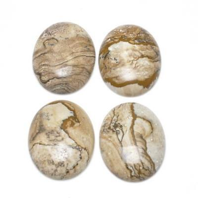 4 x Beige Picture Jasper 8 x 10mm Oval-Shaped Flat-Backed Cabochon CA16632-2