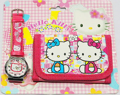 New Kids Watch And Wallet Set Hello Kitty Girls Accessories Party Gift