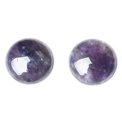 Pack of 3 x Purple Amethyst 12mm Coin-Shaped Flat-Backed Cabochon CA16682-3