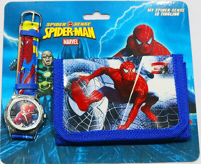 New Kids Watch And Wallet Set Spiderman Boys Accessories Party Gift