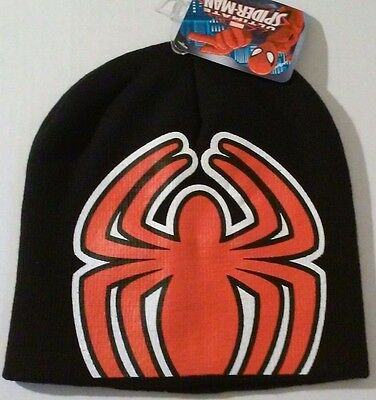 07ed5b25c1c107 Avengers Spiderman Knit Cap Black Winter Kids Beanie Hat NWT Boys Marvel
