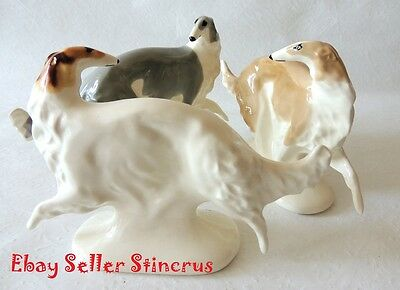 Borzoi Russian graceful different color Three dog. Author's Porcelain figurines