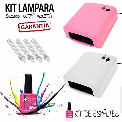 Lampara Uv Secador De Uñas Ultravioleta 36W + **kit** Gel Esmalte Permanente
