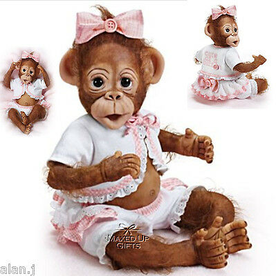 Ashton Drake Cute As A Button Poseable baby monkey doll - hand-applied hair