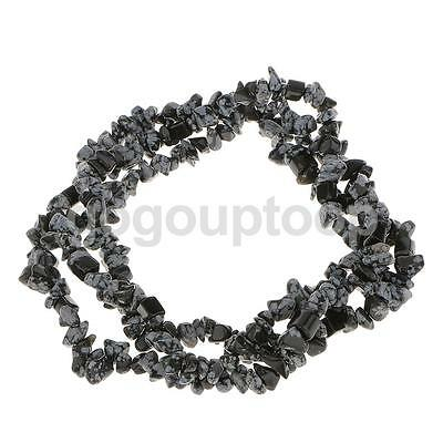 6-8mm Snowflake Obsidian Gemstone Jewelry Craft Loose Beads Strand 34 Inch