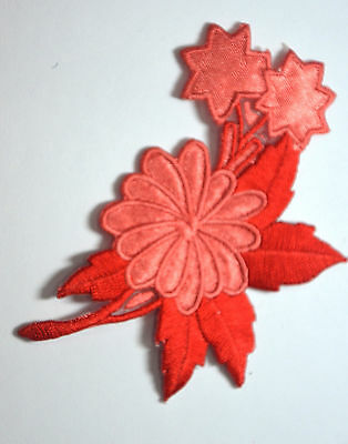 RED PETAL FLOWER & STARS Embroidered Sew Iron On Cloth Patch Badge APPLIQUE