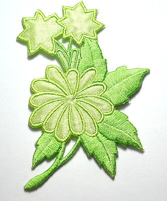GREEN PETAL FLOWER & STARS Embroidered Sew Iron On Cloth Patch Badge APPLIQUE