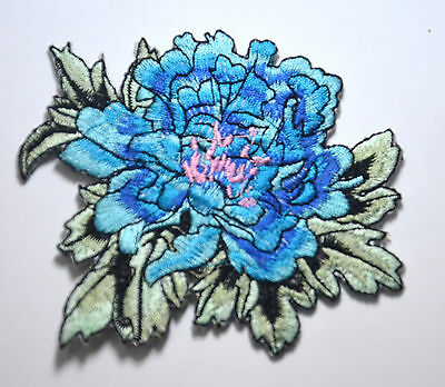 BLUE FLOWER BLOOM  Embroidered Sew Iron On Cloth Patch Badge APPLIQUE
