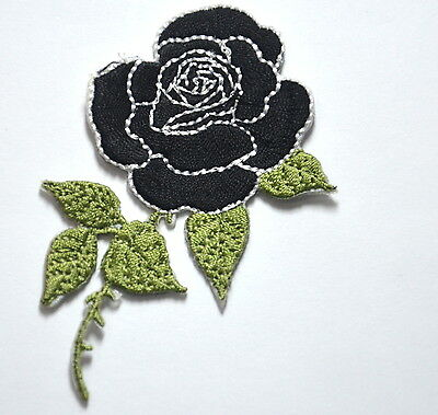 BLACK ROSE FLOWER BLOOM  Embroidered Sew Iron On Cloth Patch Badge APPLIQUE