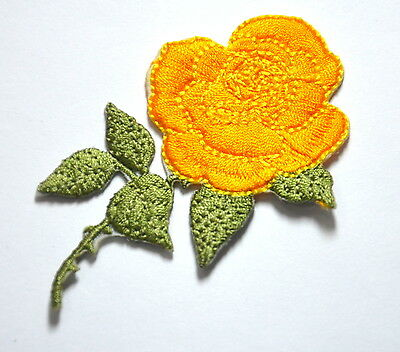 YELLOW ROSE FLOWER BLOOM  Embroidered Sew Iron On Cloth Patch Badge APPLIQUE