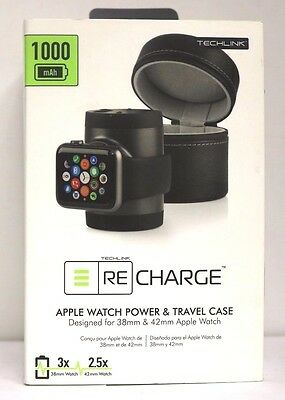 Techlink - Recharge Portable Charger Apple Watch 38mm 42mm Black - 527090