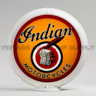"Indian Motorcycle Head 13.5"" Gas Pump Globe (G144)"