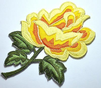 YELLOW ROSE FLOWER TRIMMING Embroidered Sew Iron On Cloth Patch Badge APPLIQUE