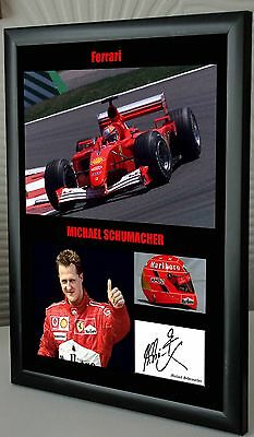 "Michael Schumacher F1 Ferrari Framed Canvas Signed Print ""Great Gift"""