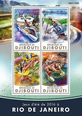 Djibouti 2016 MNH Summer Games Rio 2016 Olympics 4v M/S Rugby Gymnastics Stamps