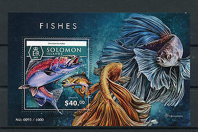 Solomon Islands 2015 MNH Fishes 1v S/S Fish Marine Rainbow Trout Trouts Stamps