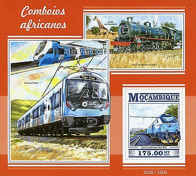 Mozambique 2015 MNH African Trains 1v S/S Railways Railroads Giraffe Stamps