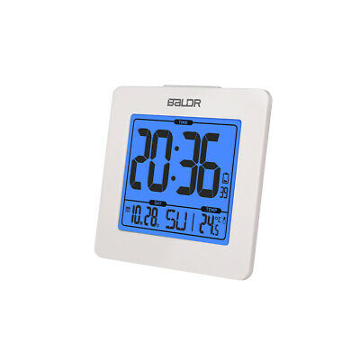 BALDR Atomic Alarm Clock with Time Calendar Function DST Temperature Display Blu